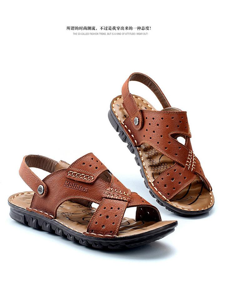木林森2014夏款男凉鞋拖鞋双穿手工缝制弹力鞋时尚