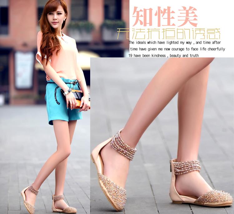 蓉杰雅丝夏季新品真皮女凉鞋羊皮平底鞋时尚串珠包头