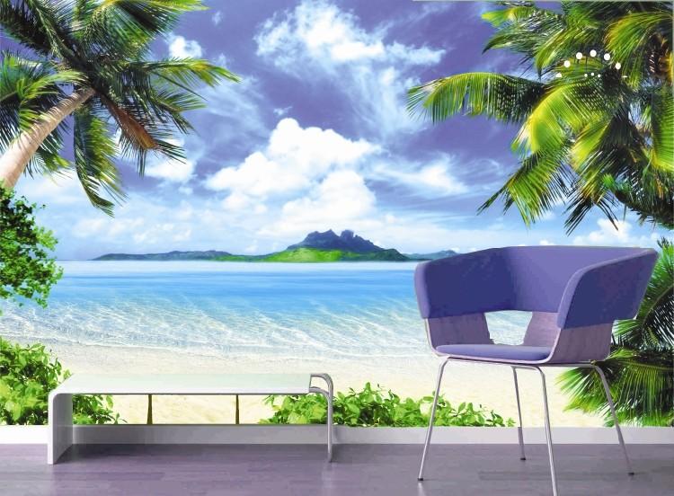 塞拉维大海风景墙纸壁画 沙滩椰树海鸥无缝壁画壁纸定做 现代简约装修