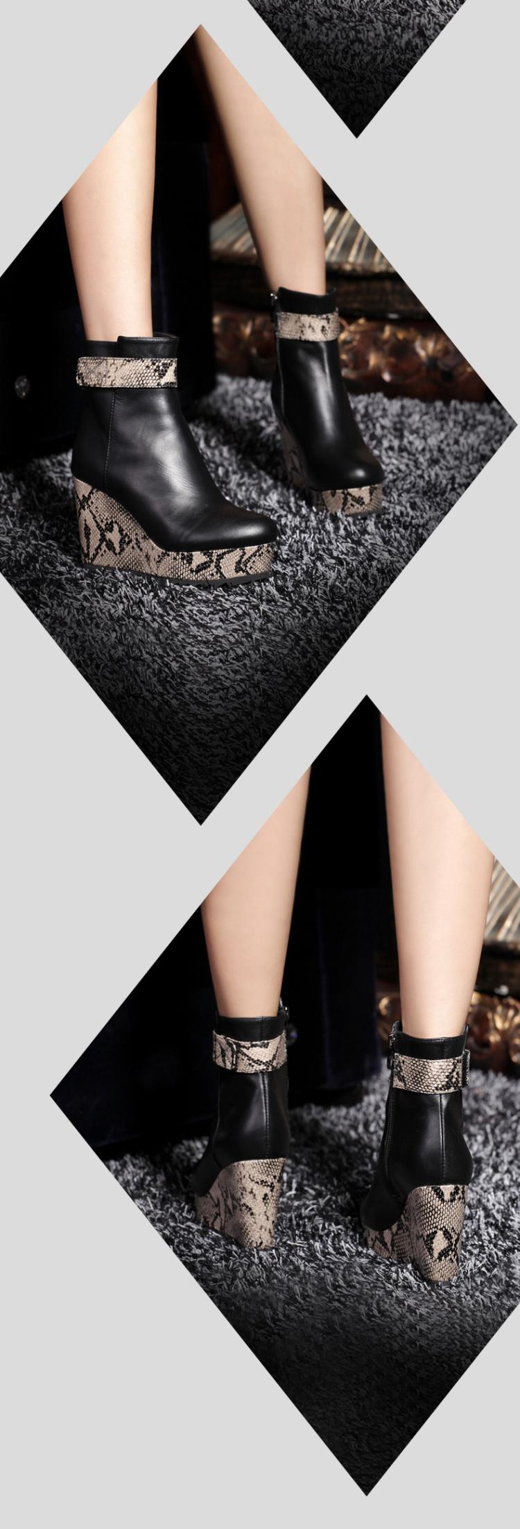 帝扬2013春秋季新款潮女鞋短靴子欧美坡跟厚底松糕鞋