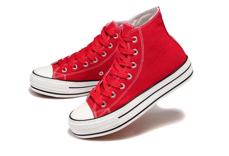 星邦经典时尚高邦女休闲帆布鞋f801