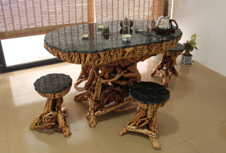 实木根雕茶几茶桌 树根茶台餐桌 户外大理石咖啡桌 配六凳