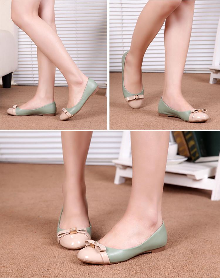 大东2014新款女鞋早春漆皮低跟甜美圆头平底浅口单鞋
