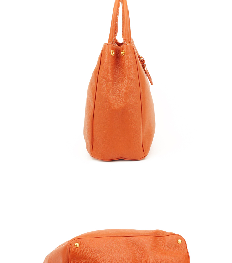 prada普拉达女包 时尚经典荔枝纹牛皮橙色女士手提包