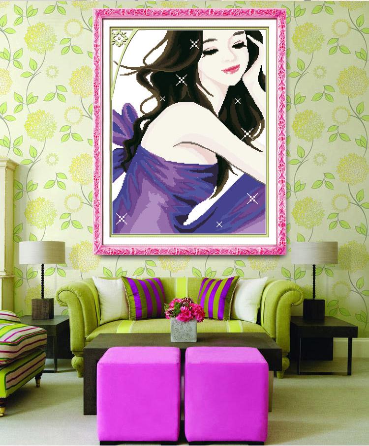 皇雅蒙娜丽莎精准印花美女十字绣卧室穿着人物工作服的客厅美女图片