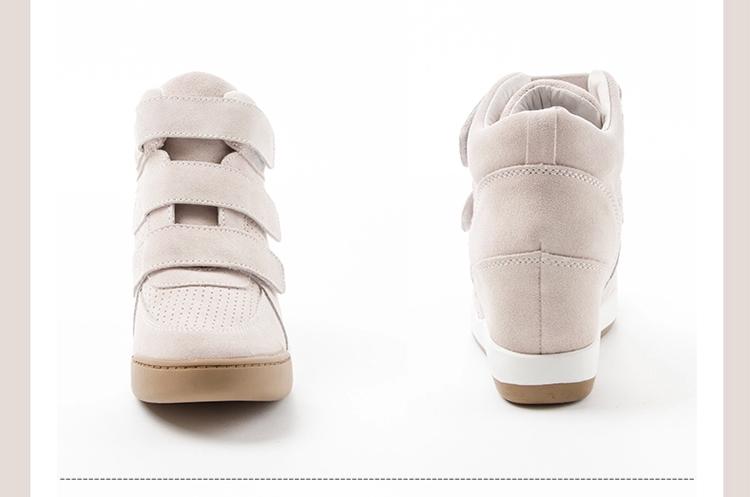 热风hotwind 时尚内增高真皮魔术贴女鞋