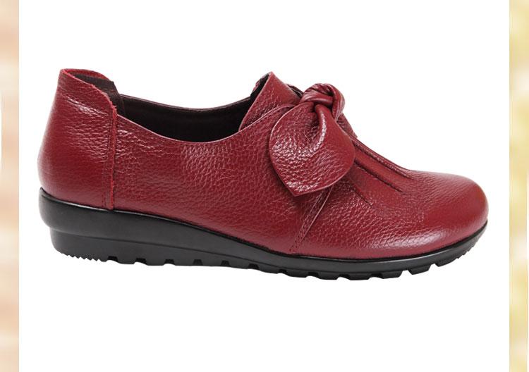 中老年酒红色皮鞋