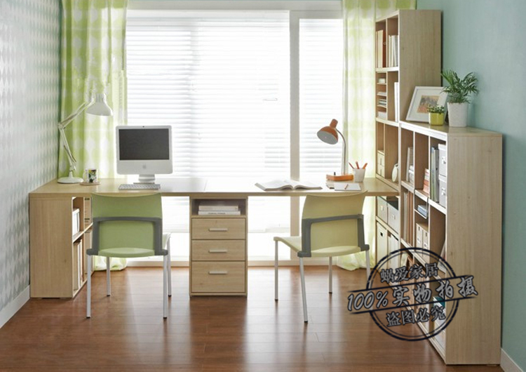 蜗爱 简约现代书房家具 双人书桌书架 sz77 现生产 可订制
