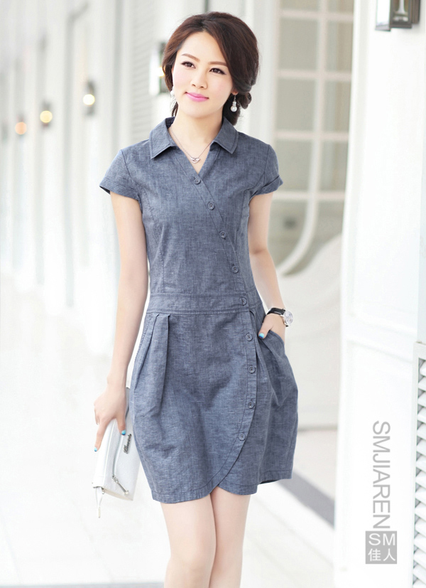 13新款30 40岁女装中年夏季翻领修身高档亚麻连衣裙修身亚麻包邮