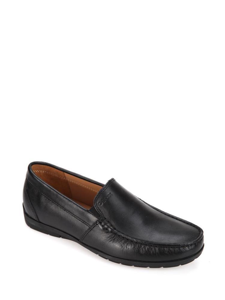 geox健乐士深棕色真皮材质车缝线元素纯色简约男士鞋