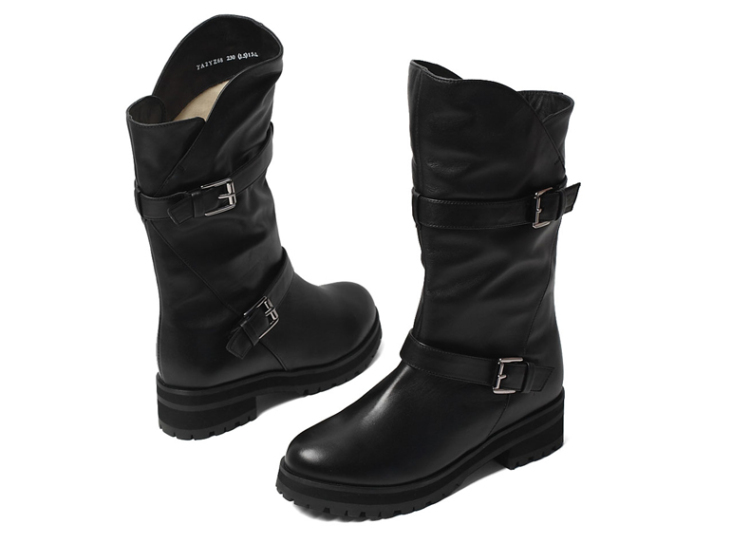 tata/他她2013冬季黑色小牛皮女皮靴2yz6udz3