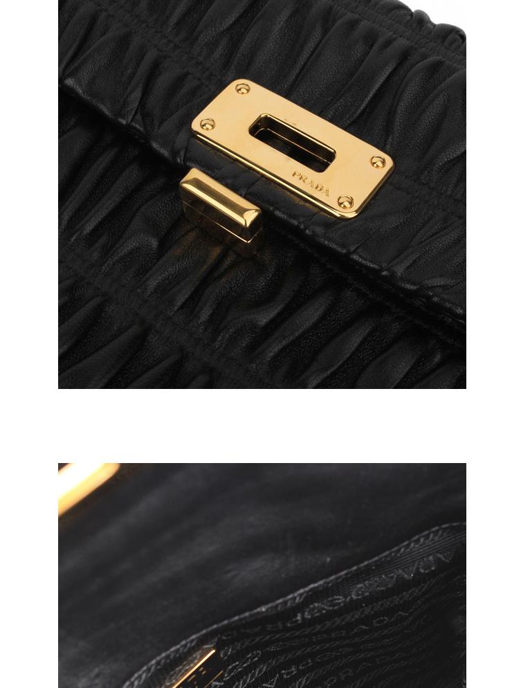 prada普拉达女款褶皱羊皮黑色手拿/化妆包1n1651