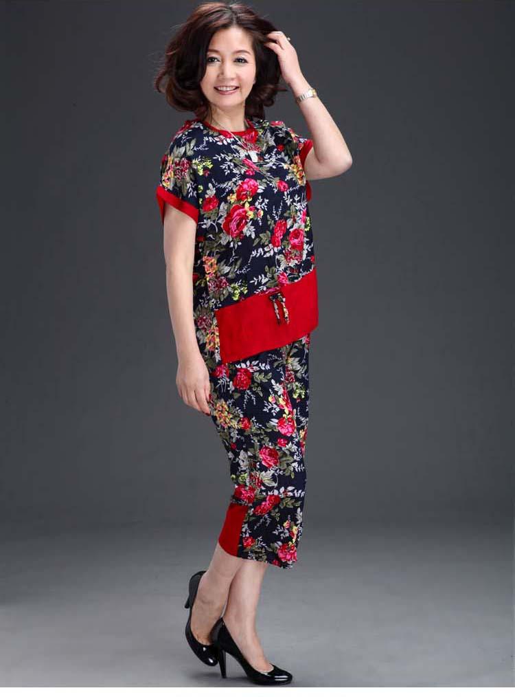 中老年女装夏装套装中年休闲妈妈装夏季短袖