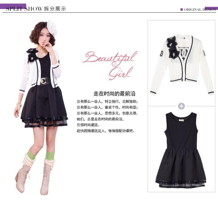 禾苑2014原创新款春装女装两件套绣花高档长袖时尚