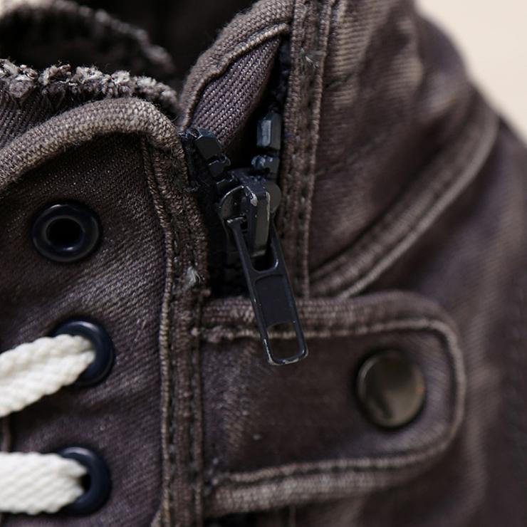 韩版时尚高帮鞋 英伦潮流牛仔布鞋