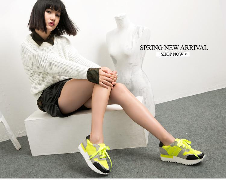 休闲时尚真皮拼接厚底运动女鞋w01606