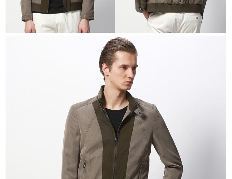 易构(egou)男装外套夹克修身春秋韩版潮拼接绿色外套