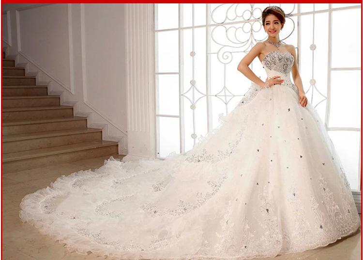 最新款2014婚纱礼服 豪华抹胸韩式大拖尾婚纱