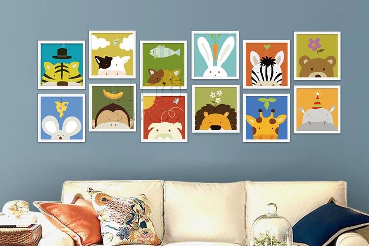 房装饰画幼儿园楼梯卡通墙贴画挂画照片墙壁画 动物乐园 兔子 框33