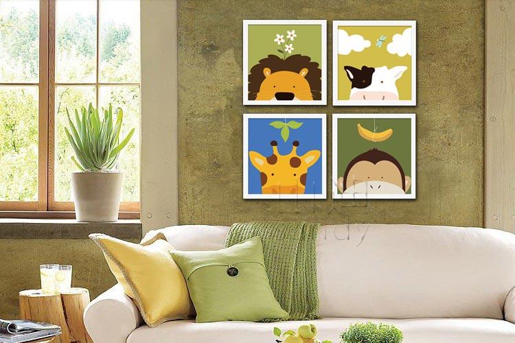 儿童房装饰画幼儿园楼梯卡通墙贴画挂画照片墙壁画 动物乐园 小牛