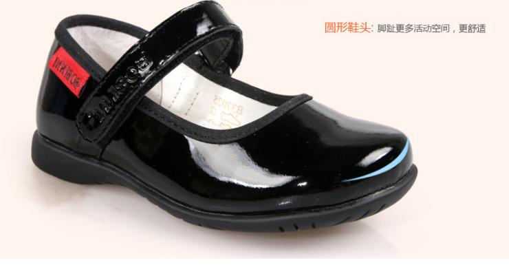 真皮童鞋女 黑色学生鞋