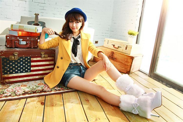 新款两穿蝴蝶结甜美女靴子韩版潮休闲细高跟