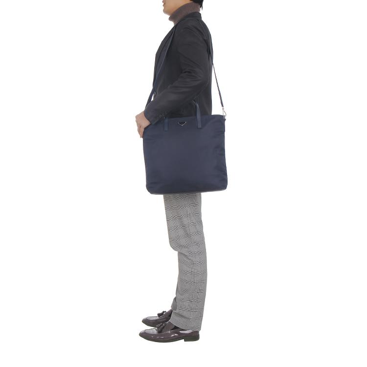 prada普拉达深蓝色织物男士手提斜挎包bn2530