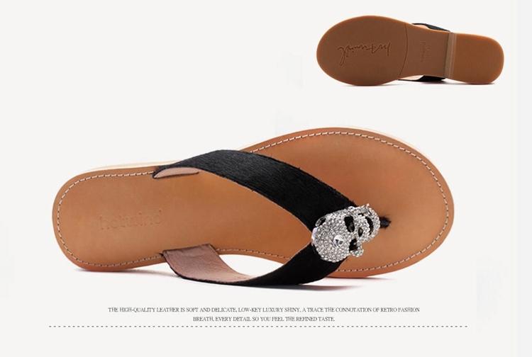 热风2014凉拖女鞋夏季新款马毛夹脚女士凉鞋平跟女63