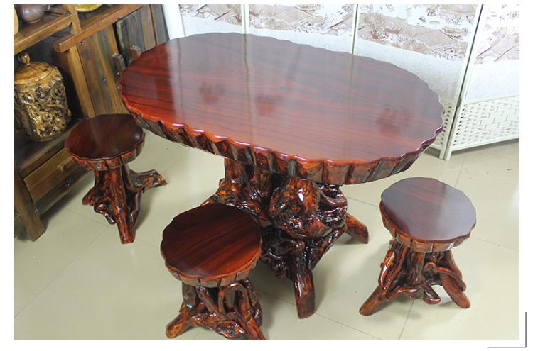 实木根雕椭圆茶桌 原木杜鹃根 餐桌 套餐 搭配 凳