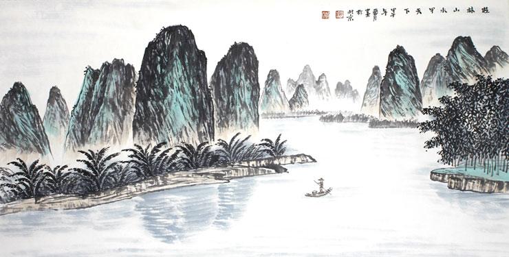 中国当代五大水墨山水名家真迹 桂林山水甲天下 纸本水墨设色