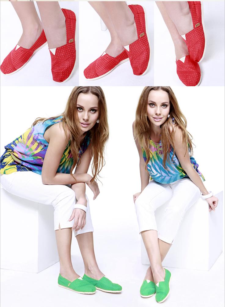 新女款时尚透气纯色帆布平底鞋女鞋单鞋1