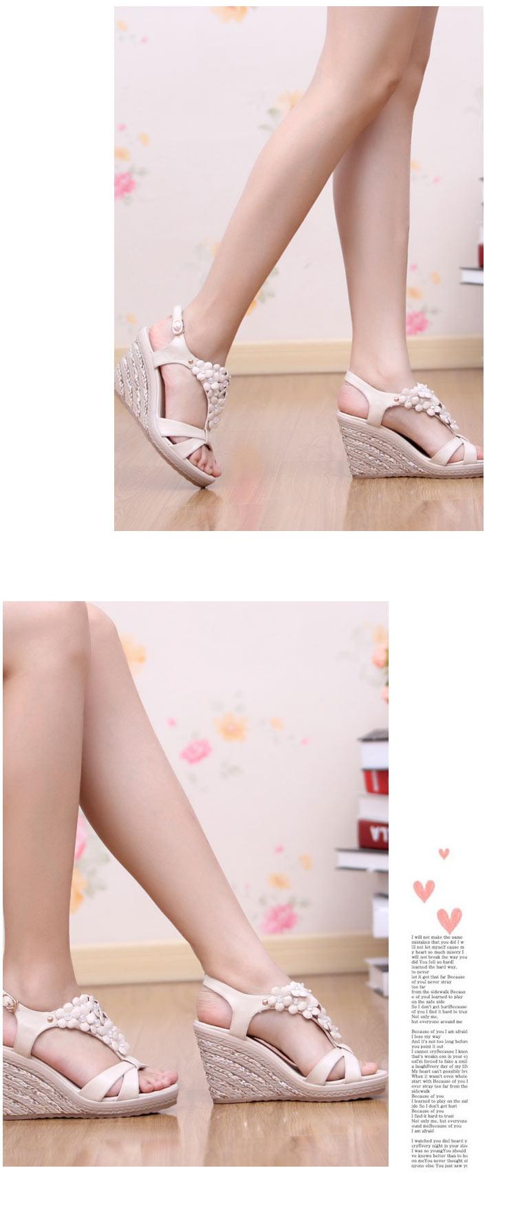凉鞋/凉拖皇妹2012新款夏季舒适坡跟花朵水钻女凉鞋