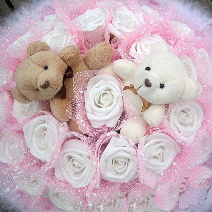 施华洛玫瑰小熊花束 30朵玫瑰2只情侣泰迪熊卡