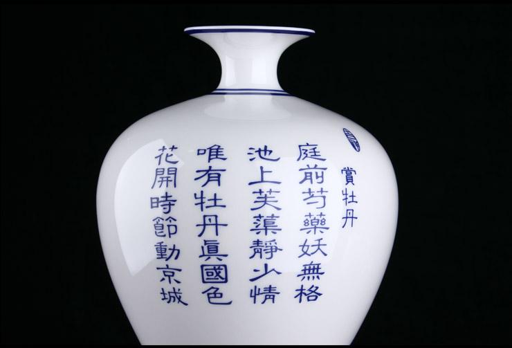 雪狼 青花瓷花瓶摆件 牡丹美人瓶 白色花瓶 花瓶 现代 简约 HJ2913