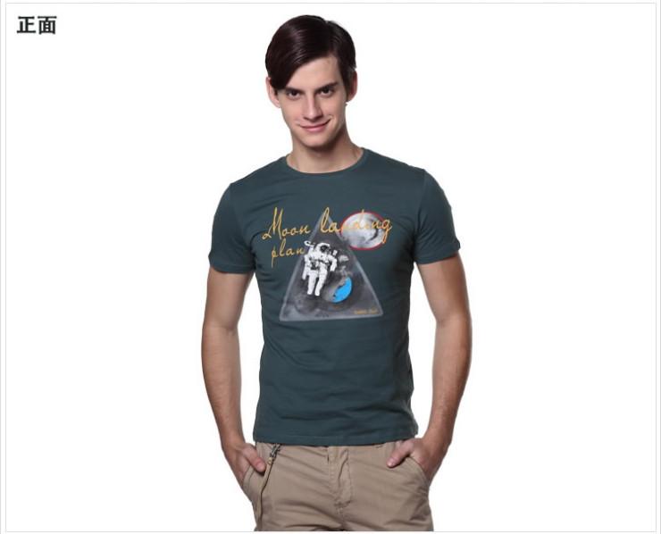 男士短袖t恤 2012新款夏装纯棉圆领半袖休闲衫潮款 浅绿色