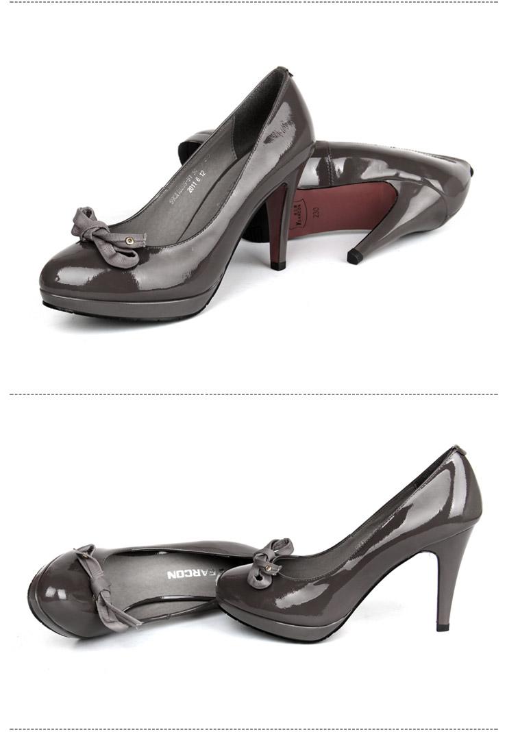 意尔康 新品女士舒适高跟蝴蝶结女单鞋