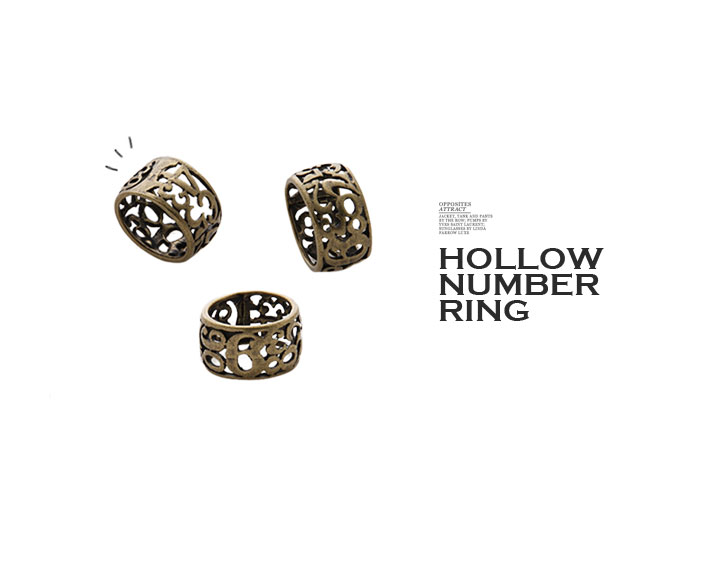 复古镂空数字戒指