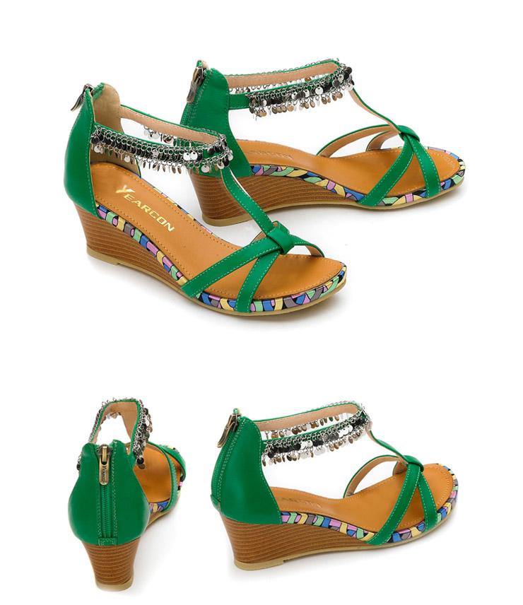 (yearcon)罗马风格时尚亮片女凉鞋
