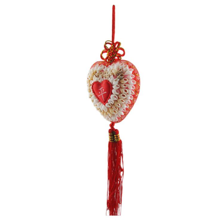 ...贝心形中国结平安字心状挂件红边 汽车挂件 海螺贝壳工艺品 ...