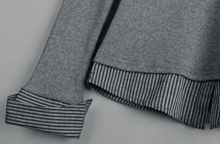 圣迪奥 sdeer 女装秋装条纹拼接假两件长袖衬衫9380530 浅灰色 S-女