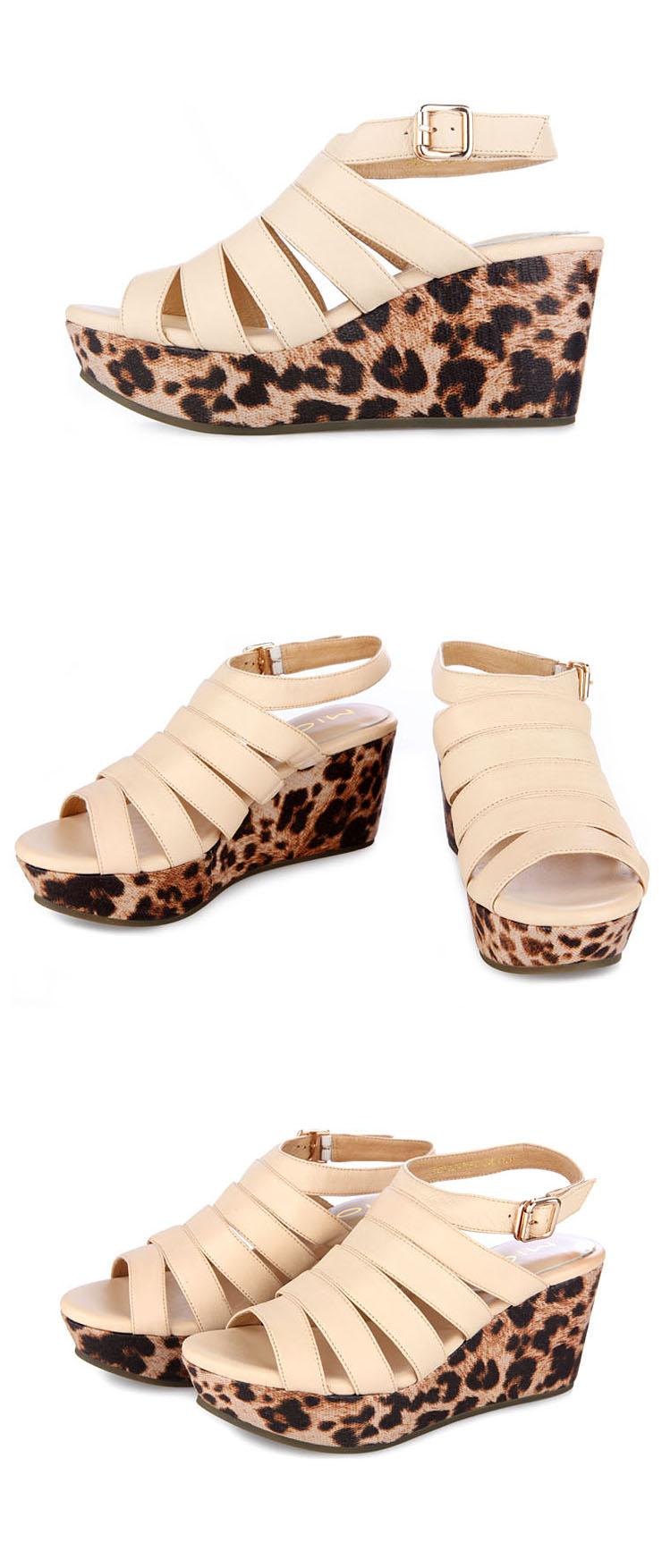绒面罗马款豹纹厚底女凉鞋
