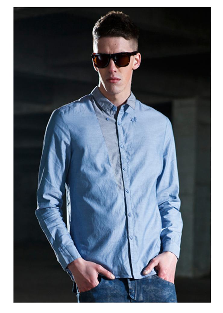 衬衫西班牙viishow修身男士潮流英伦风时尚休闲衬衫