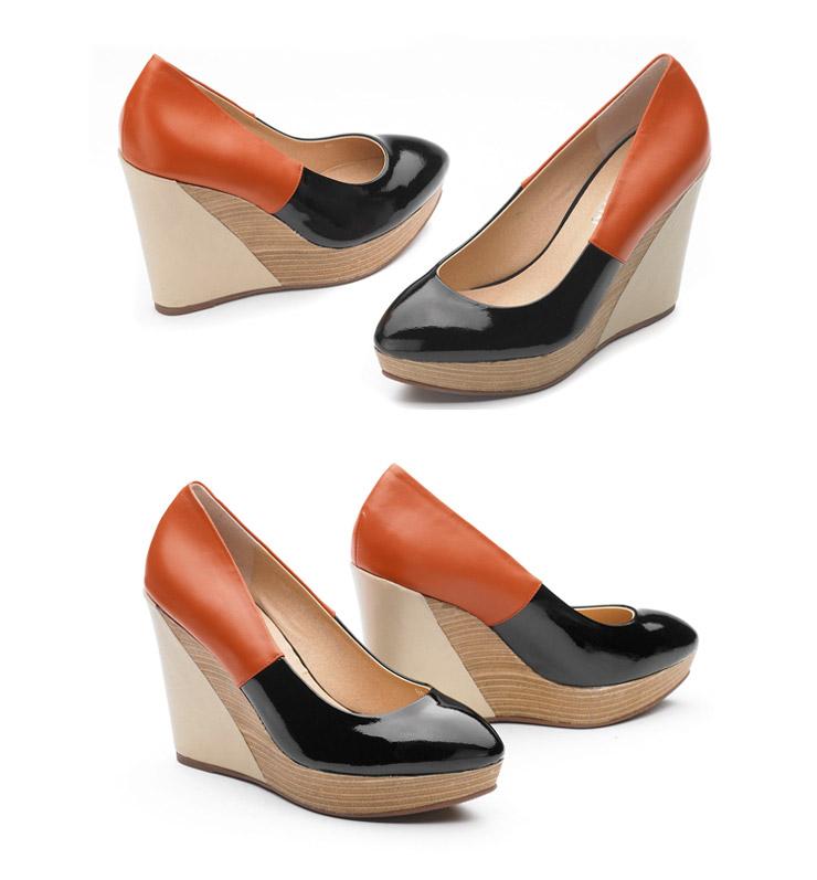 单鞋意尔康2012新款真皮坡跟拼色厚防水台仿木纹底鞋