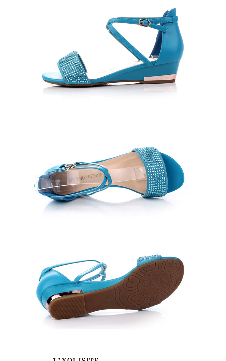 皇妹2012夏季新款鱼嘴水钻坡跟女凉鞋