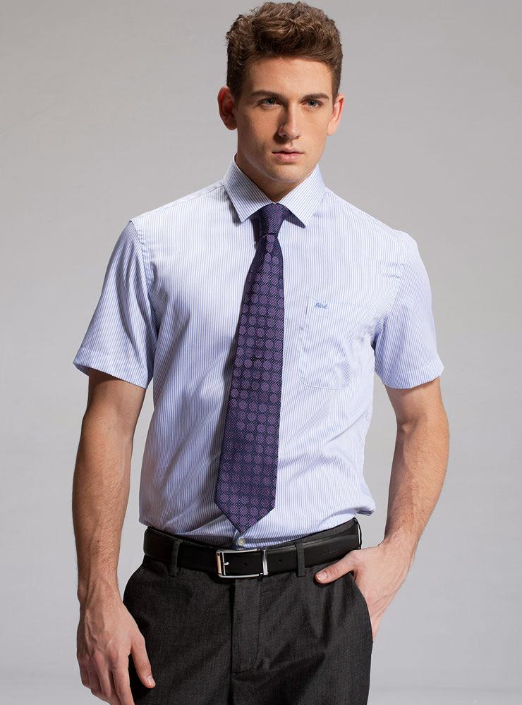 条纹短袖衬衫