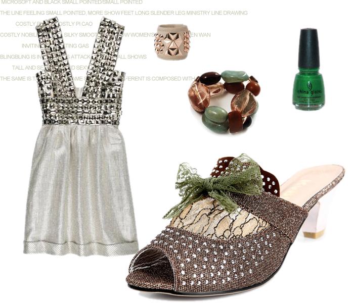 蕾丝拼接蝴蝶结镶钻镀银粗跟中跟凉拖鞋