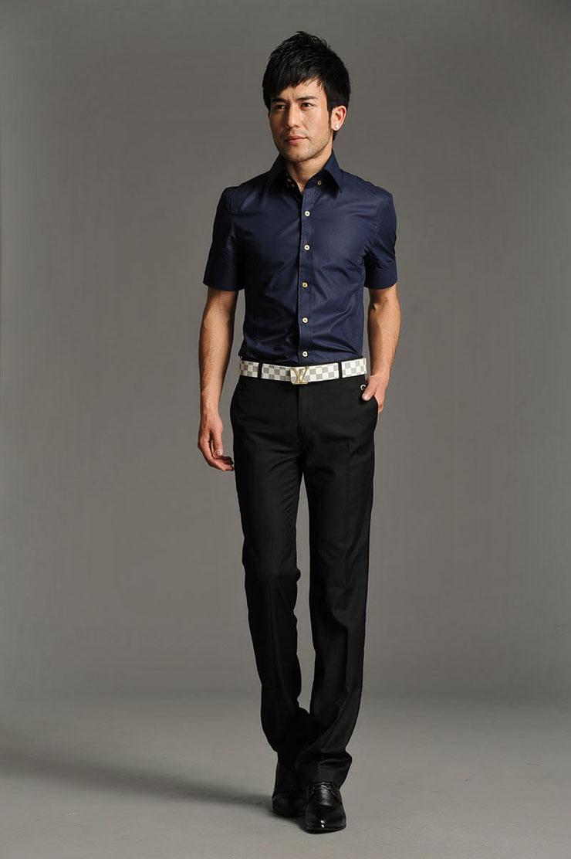 衬衫hy韩版男士经典夏季短袖衬衫休闲商务职业正装