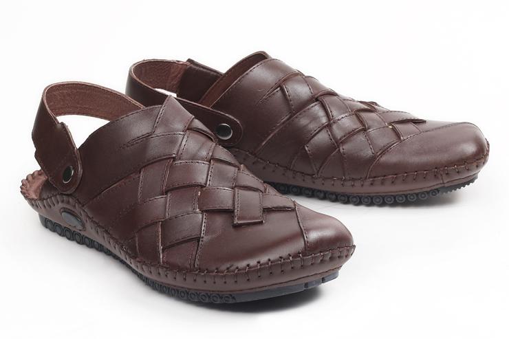 男士经典手工编织小牛皮凉鞋