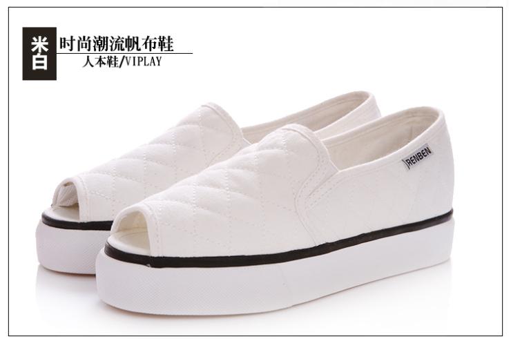 夏季鱼嘴鞋帆布鞋 女韩版潮