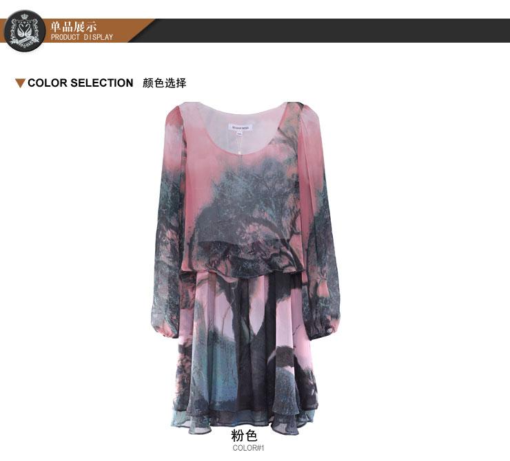 season wind-产品类型:   商品名称:季候风 seasonwind 时尚水墨印花雪纺连衣裙图片